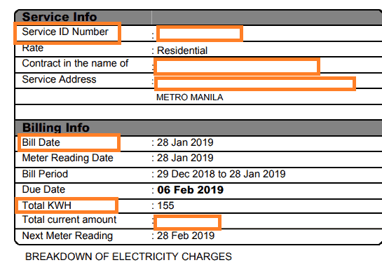Register and Pay Meralco Bill Online - Sample Bill