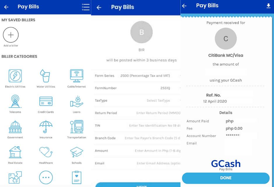 gcash feature pay bills